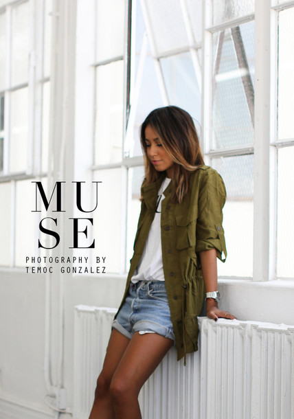 T-shirt: sincerely jules, blogger, jacket, khaki, denim shorts ...