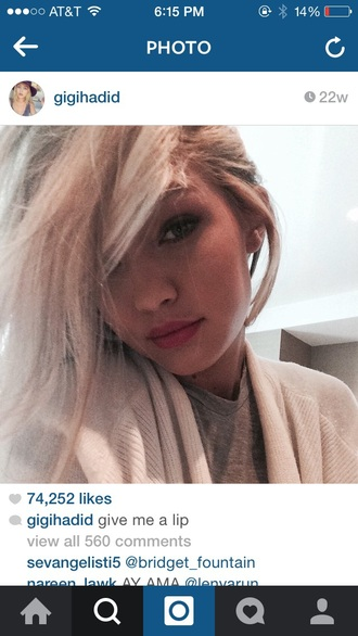 cardigan comfy creme gigi hadid blonde hair platinum hair