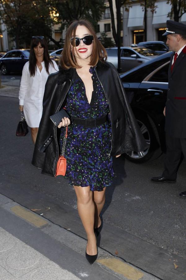dress floral dress emilia clarke leather jacket aviator sunglasses