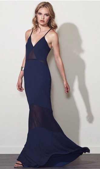 dress blue navy navy dress sheer long dress maxi dress blue dress see through dress sexy pretty cute love it love prom prom dress