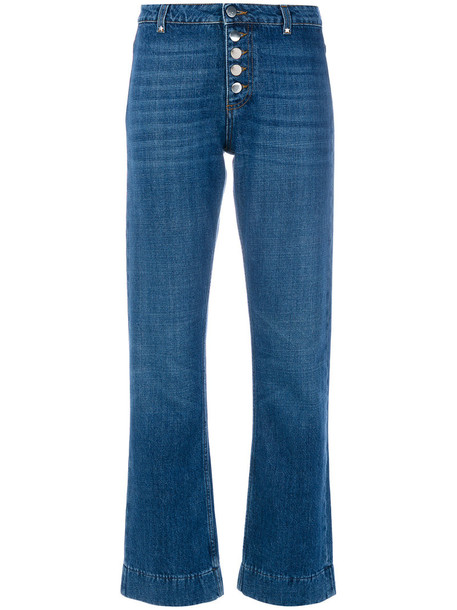 Alexa Chung jeans flare women cotton blue
