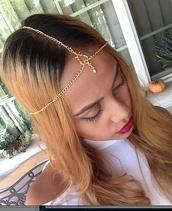 jewels,head jewels,gold head chain,gold headdress,headdress,hair chain,gs hair chain,gold hair chain,pendant