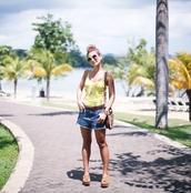 atrendylifestyle,blogger,shorts,top,t-shirt,tank top,yellow top,denim shorts,shoulder bag,sandals