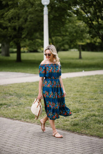 bows&sequins blogger dress bag shoes sunglasses jewels off the shoulder dress midi dress summer outfits flats handbag