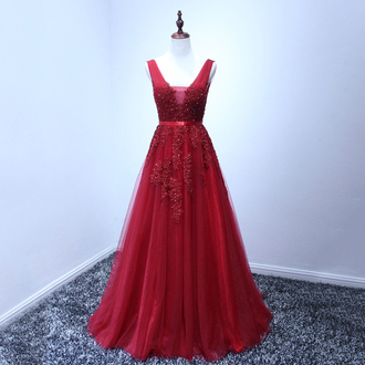 dress prom prom dress red red dress tulle dress chiffon chiffon dress vine dark red love lovely cute cute dress bridesmaid maxi dress maxi long long dress wow fashion trendy style vogue sexy sexy dress super