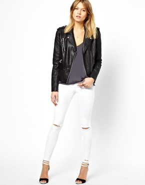 ASOS Ridley High Waist Ultra Skinny Ankle Grazer Jeans in White ...