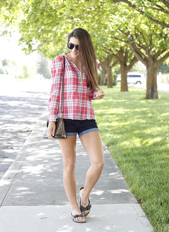 seekingsunshine blogger shorts top sunglasses shoes summer outfits flats denim shorts louis vuitton bag shirt