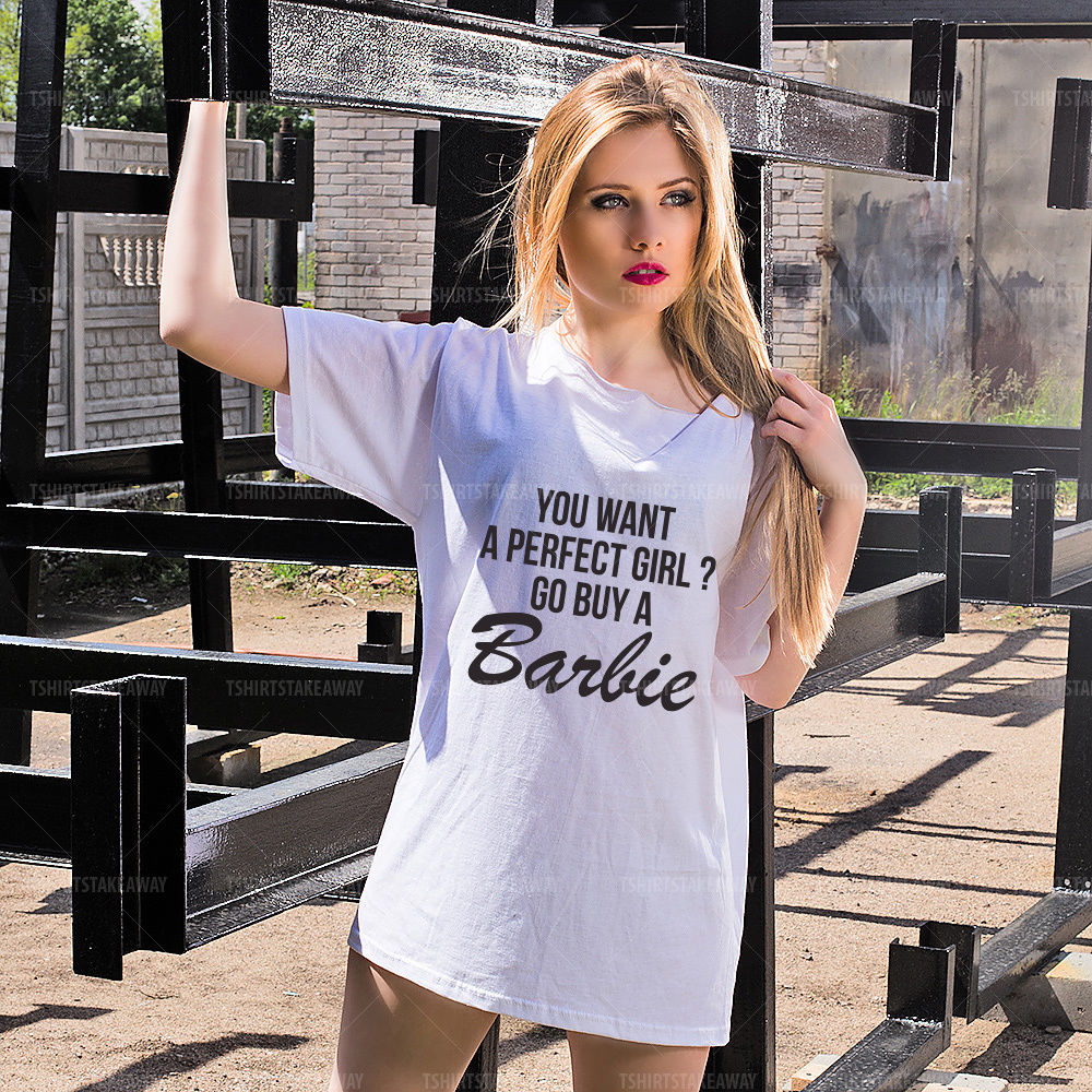d333f6712 Oversize Off Shoulder Tshirt - You Want a Perfect Girl? Go Buy a Barbie -  Trendy