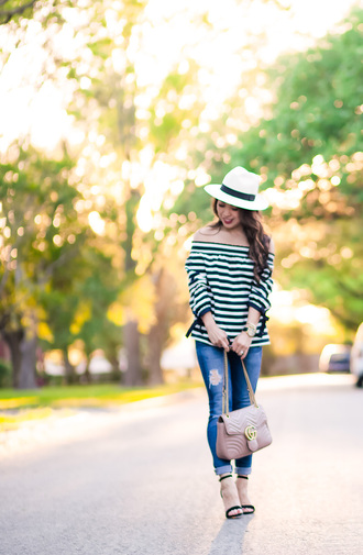 cute & little blogger hat top leggings shoes felt hat striped top sandals high heel sandals gucci bag spring outfits