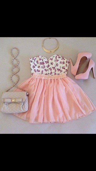 dress pink dress shirt high heels bag skirt jewels