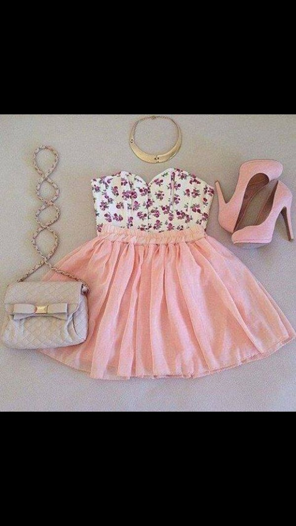 dress pink dress high heels bag shirt skirt jewels