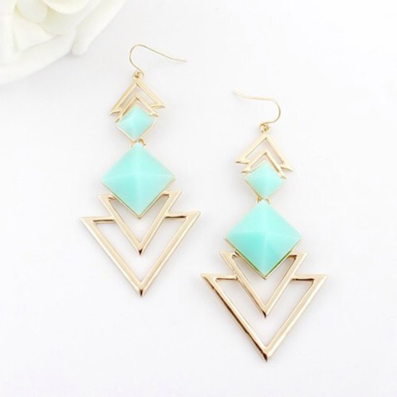 jewels earrings gold blue