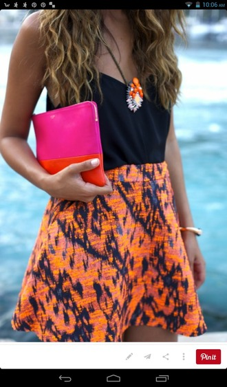 dress bright colours skirt black top pretty dress classy nail polish