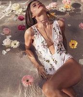 swimwear,one piece,one piece swimsuit,monokini,floral one piece,floral swimwear,floral swimsuit,boho,boho one piece,deep v,v neck one piece,low cut one piece,beach riot,taylor ashley,beach riot swimwear