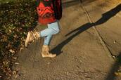 shoes,jeans,cute,moccasins,shadow,red sweater