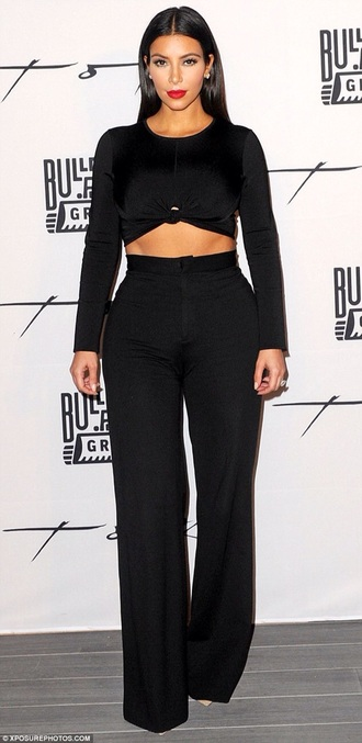 pants black kim kardashian kardashians crop tops black crop top wide-leg pants red lime sunday