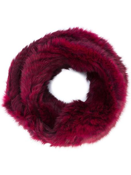 Jocelyn long fur women infinity scarf infinity scarf red