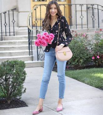 top floral top tumblr ruffle wrap top floral bag denim jeans blue jeans shoes pink shoes flats