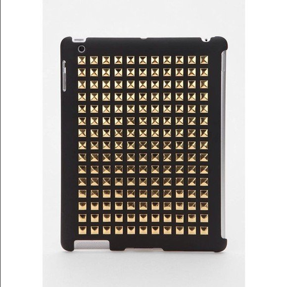 studded iphone case bag black phone case gold ipad ipad 4 studs gold studs golden gold and black