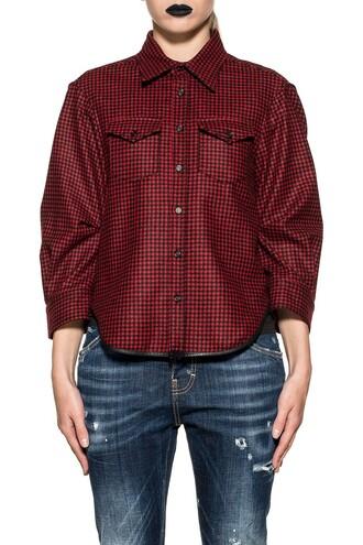 shirt black wool red top