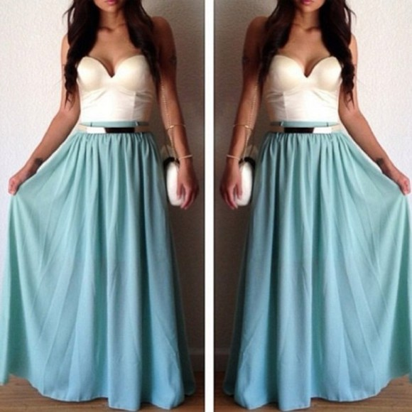 skirt long skirt blue skirt tank top