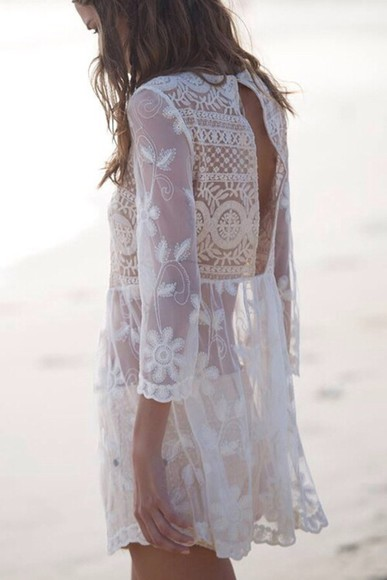 dress lace dress white dress boheme floral dress