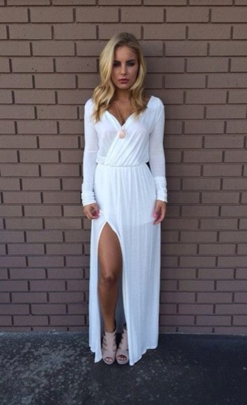 dress maxi white maxi dress long prom dresses white dress clothes blonde hair mini dress white mini dress