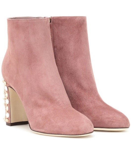 Dolce & Gabbana Vally suede ankle boots in pink