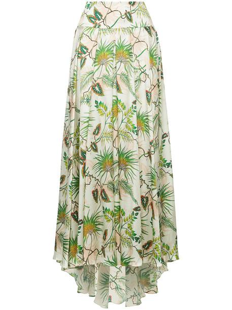 Adriana Iglesias skirt tropical women spandex print silk
