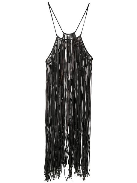 dress fringed dress long women leather black