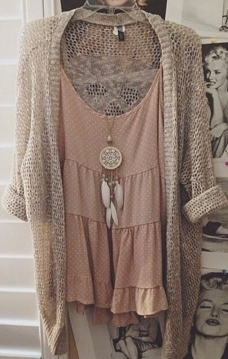 dress pink polka dots cardigan jewels dreamcatcher boho necklace bag hipster