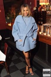 light blue,fluffy,fuzzy coat,blue fluffy coat