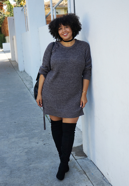 f474535615d gabi fresh blogger dress grey dress black choker plus size dress sweater  dress knitted dress knitwear
