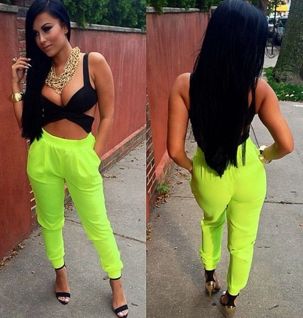 pants joggers neon shirt