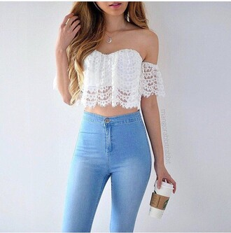 top jeans tank top blouse white cute crop tops high waisted jeans shirt style light blue light blue jeans strech skinny jeans t-shirt necklace jewelry moon moon necklace gold gold necklace pants lace beautiful top heart coachella white top white crop tops lace top festival top blue jeans summer top cute top crotchet coachella hippy boho corset fashion girly girl shirts girly outfits tumblr
