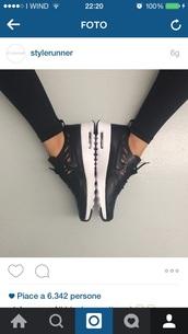 shoes,nike,black,leather,white,run,sneakers,cut,cuts,cut-out,runner,sports shoes,sportswear,sporty,cut offs,kayla itsines,black nike
