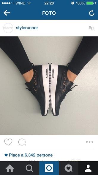 shoes nike black leather white run sneakers cut cuts cut-out runner sports shoes sportswear sporty cut offs kayla itsines black nike