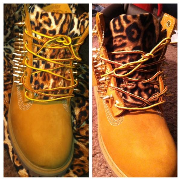 Custom timberland boots with cheetah print tongue
