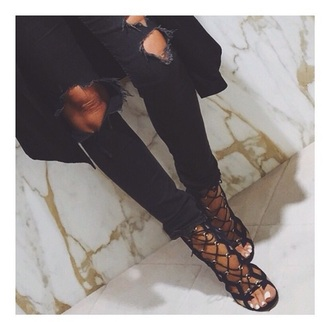 shoes black heels sandal heels lace-up shoes lace up open toes
