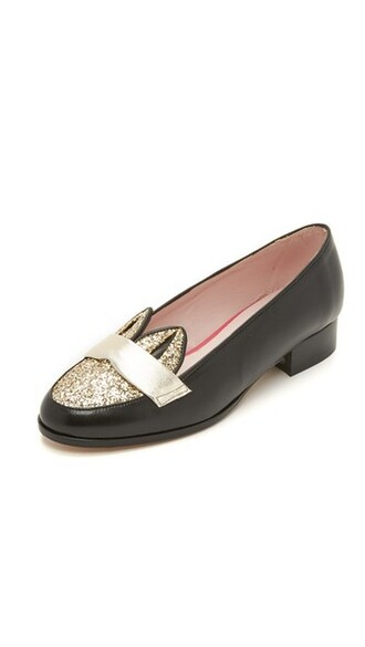 glitter loafers gold black shoes