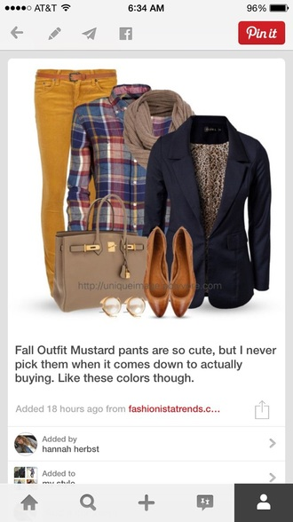 jeans plaid shirt yellow jeans blazer purse scarf i want this outfit bag
