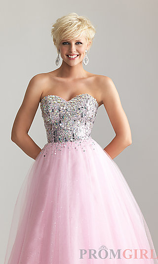 Strapless ball gowns, night moves princess prom dresses