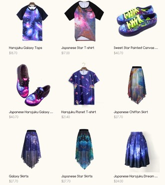 shoes galaxy galaxy skirt galaxy dress galaxy print galaxy tshirt harajuku harajuku style japanese fashion japanese inspiration fashion skirt shirt