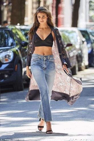 jeans blue jeans denim taylor hill shoes black black shoes coat floral long