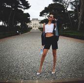 shorts,top,pumps,crop tops,bella hadid,jacket,white top,black jacket,black shorts,white heels,Bella Hadid Crop Top