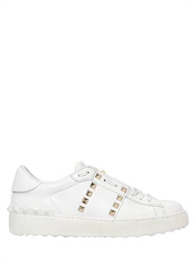 VALENTINO, Rockstud untitled leather sneakers, White, Luisaviaroma