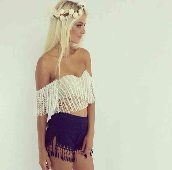 fringe fringe shirt off shoulder crop top off shoulder off shoulder top white off shoulder crop tops bustier bralette festival festival top shorts black shorts high waisted shorts and bralet festival outfit coachella fashion coachella style boho boho chic hipster flower crown flower crown, white, flower, pretty white bustier white bralette gypsy
