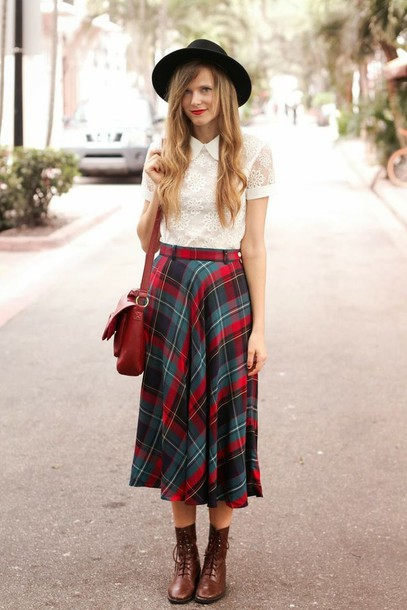 skirt midi skirt grunge belt shirt hat