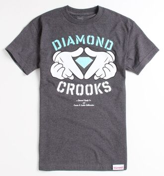 t-shirt diamonds crooks and castles grey grey top diamond supply co. baby blue micky mouse hands graphic tee