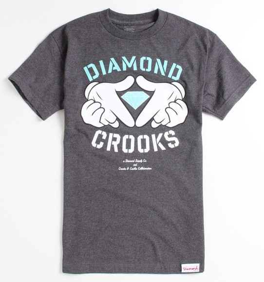 grey top grey t-shirt diamond crooks and castles diamond supply co. baby blue micky mouse hands graphic tee tee